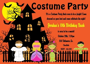 halloween costume party birthday party invitation adult kids boy girl