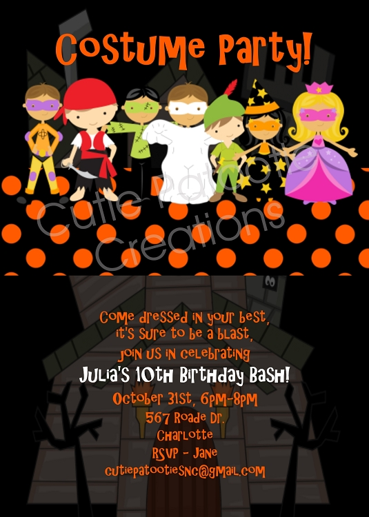 Costume party halloween party invitations printable or printed filmwisefo