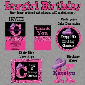 Cowgirl Birthday Party Package - Printable Digital Invitations and Party Decorations