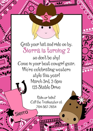 Cowgirl and cowboy themed birthday party invitations pink cowgirl bandana birthday invitation printable or printed filmwisefo