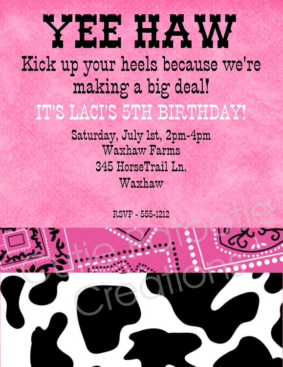 Pink Cow Print Birthday Party Invitation Printable or Printed – Cow Birthday Invitations