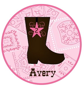Personalized Pink Cowgirl Boot Tshirt or Bodysuit