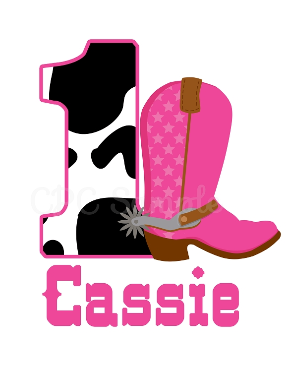 personalized pink cow print cowgirl boot t shirt or bodysuit Blue Cowgirl Boots Clip Art Pink Bow Clip Art