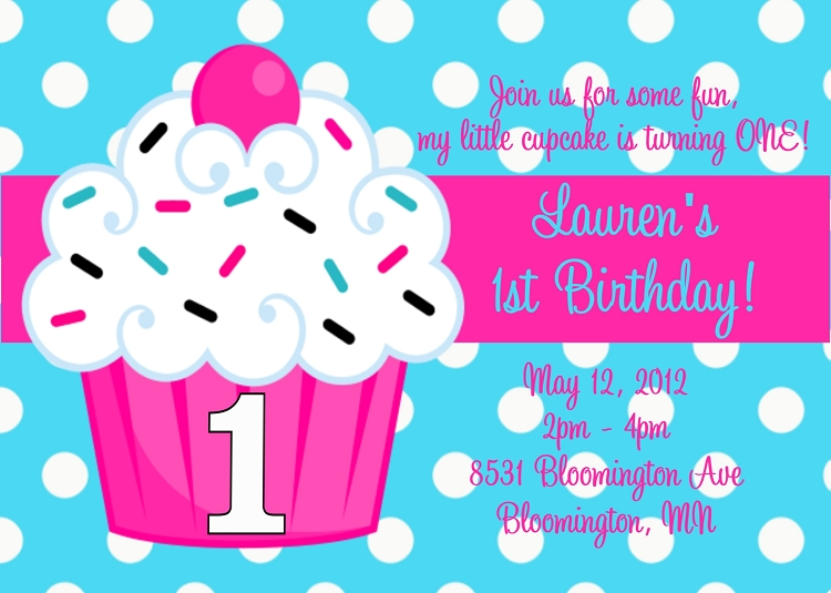 Cupcake birthday party invitations filmwisefo Gallery