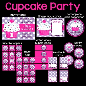 Pink and Purple Cupcake Printable Party Package - Invitations - Party Decorations - Party Supplies
