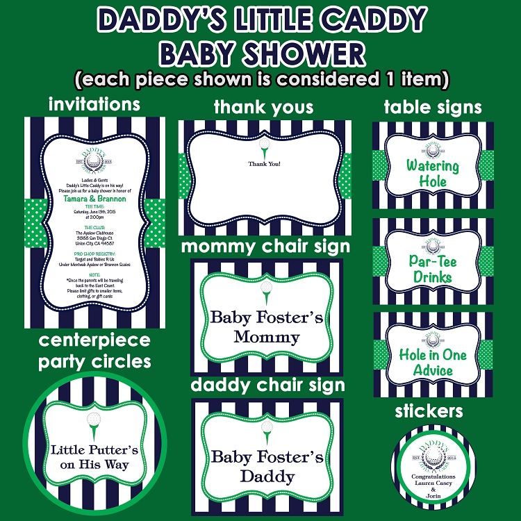 Daddys little caddy golf theme baby shower invitations and daddys little caddy golf theme baby shower invitations and decorations print your own filmwisefo Images