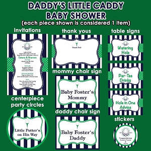 Daddy's Little Caddy Golf Theme Baby Shower Invitations and Decorations - PRINT YOUR OWN