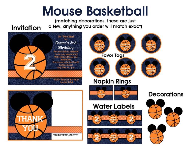 Basketball | Mickey Mouse Invitations - Printable or Printed