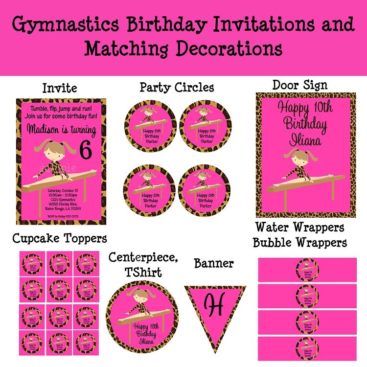 Leopard Print Gymnastics Birthday Invitations - Printable or Printed