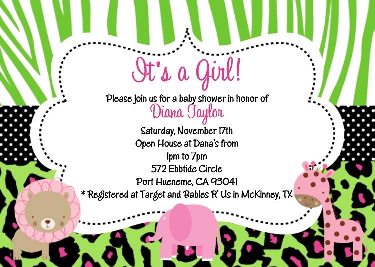 green safari baby shower invitations, Baby shower invitations
