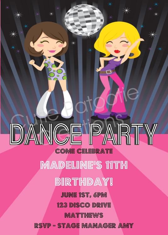 Disco Diva Dancers Glamour Girls Birthday Party Invitations