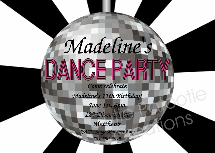 Disco Ball Birthday Party Invitations Printable Or Printed - Disco party invites templates free