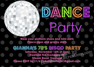 70s 80s and 90s disco dance party birthday invitations printable or printed - Disco Party Invitations