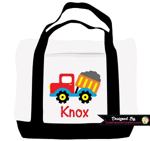 Monogrammed Construction Dump Truck Tote Bag - Personalized with Name