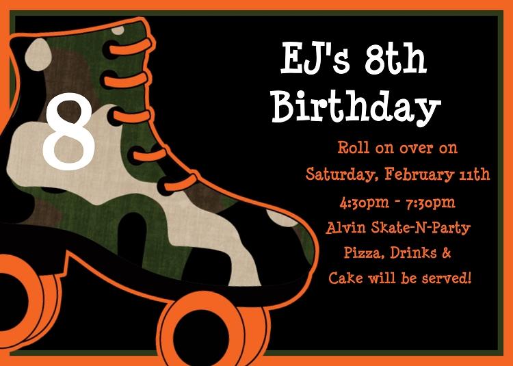 Camouflage Roller Skating Birthday Invitations Printable Or Printed