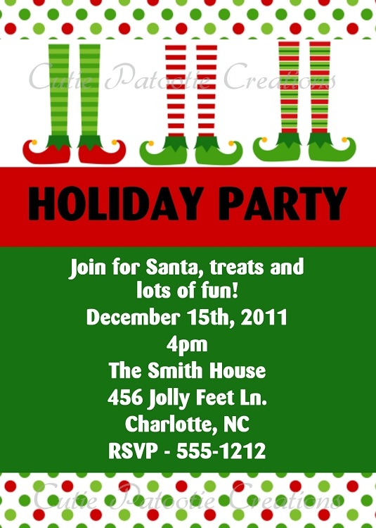 Elf Feet Christmas Holiday Party Invitation  Printable Or Printed