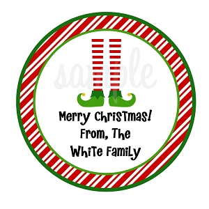 Candy Cane Elf Feet Christmas Stickers Holiday Gift Tags