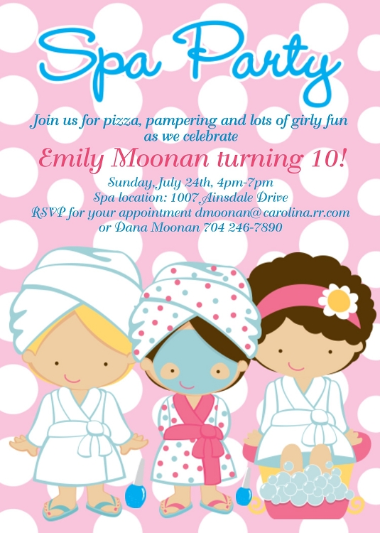 Spa Party Birthday Invitations – Spa Slumber Party Invitations