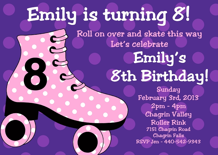 Pink and Purple Polka Dots Background – Roller Skate Birthday Invitations