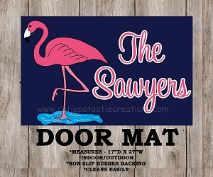 Pink and Navy Flamingo Preppy Monogrammed Door Mat