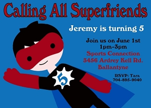 Flying Superhero Birthday Invitations - Printable or Printed