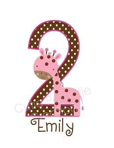 Personalized Pink Giraffe Birthday Number TShirt or Bodysuit (Any Name, Any Number)