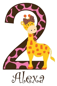 Personalized Giraffe Birthday Number TShirt or Bodysuit (Any Name, Any Number)