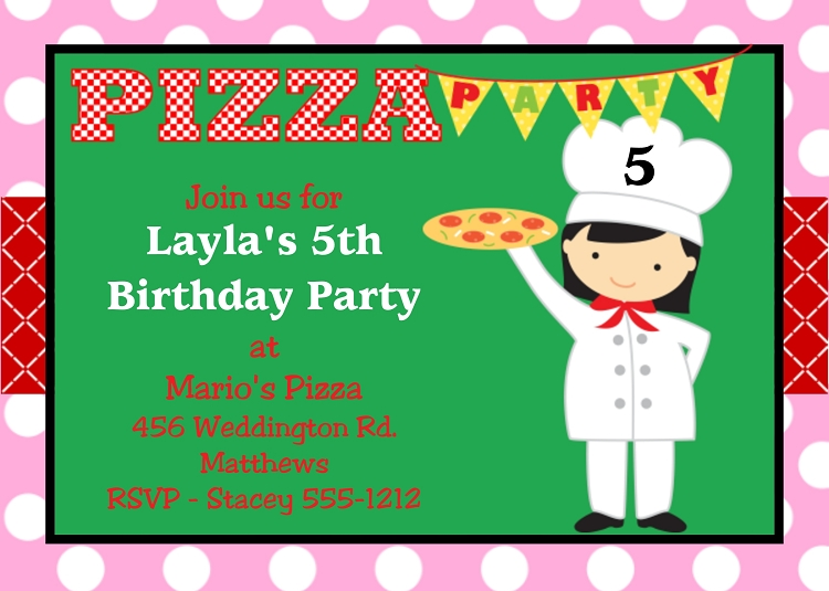 pizza birthday party invitations for girls, Party invitations