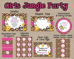 Girls Pink Jungle Birthday Invitations and Party Decorations - Printable Party Package