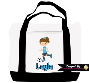 Monogrammed Girl Soccer Player Tote Bag - Personalized with Name