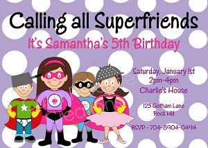 Superhero Birthday Invitations for Girls