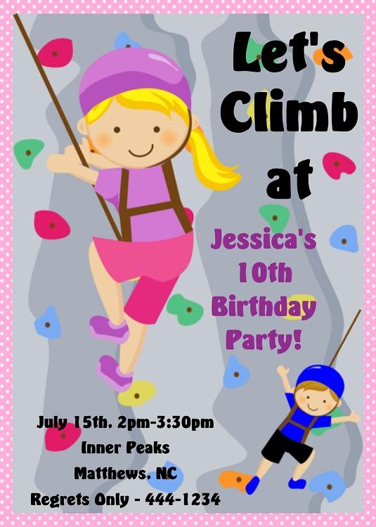 Rock Climbing Birthday Invitations Printable