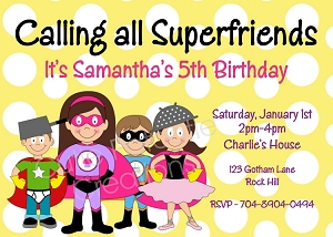 Yellow Superhero Invitations for Girls