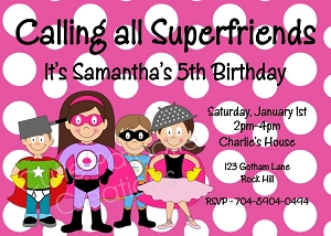 Pink Superhero Birthday Invitations