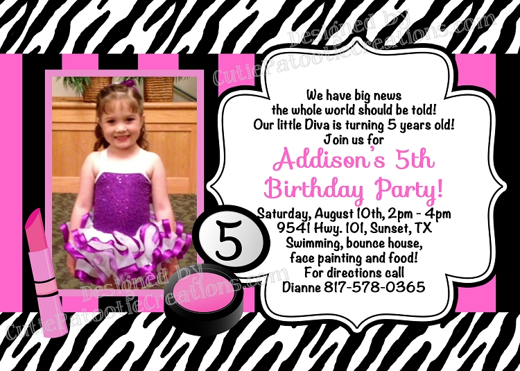 Diva Spa Party Birthday Invitations Printable or Printed – Diva Party Invitations
