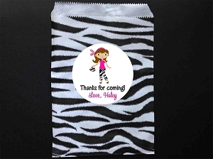 Glamour Girl Party Favor Bags and Personalized Stickers