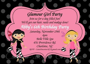 glamour girl themed party invitations