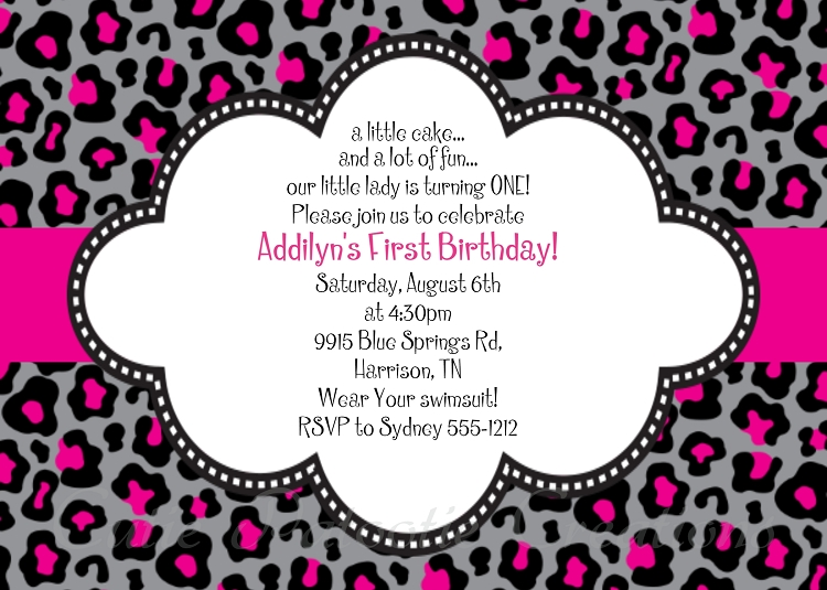 Black and Pink Leopard Print Invitations Printable or Printed – Leopard Print Birthday Cards