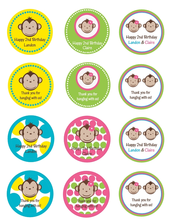 Monkey love cupcake toppers