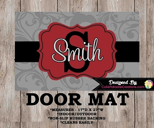 Monogrammed Grey and Red Floral Door Mat