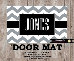 Monogrammed Grey & Black Chevron Door Mat