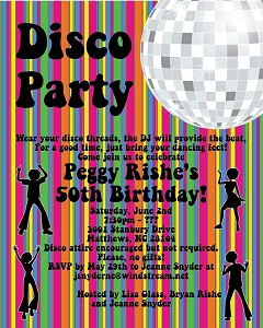 Disco Dance Party Birthday Invitations - Printable or Printed