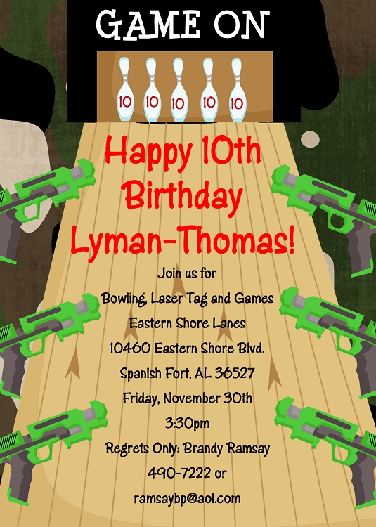 Laser Tag Invitations for Boys or Girls Printable or Printed