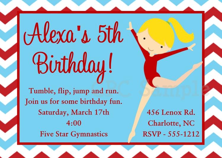 girls gymnastics birthday party invitations or invites printable, Birthday invitations