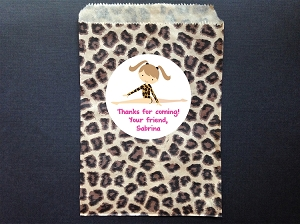 Gymnastics Leopard Party Favor Bags and Personalized Stickers