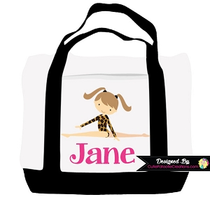 Monogrammed Leopard Gymnastics Tote Bag - Personalized with Name