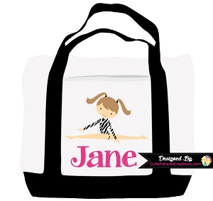 Monogrammed Zebra Print Gymnastics Tote Bag - Personalized with Name