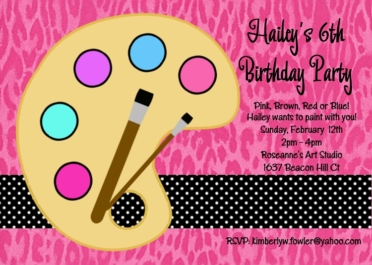paint birthday party invitations