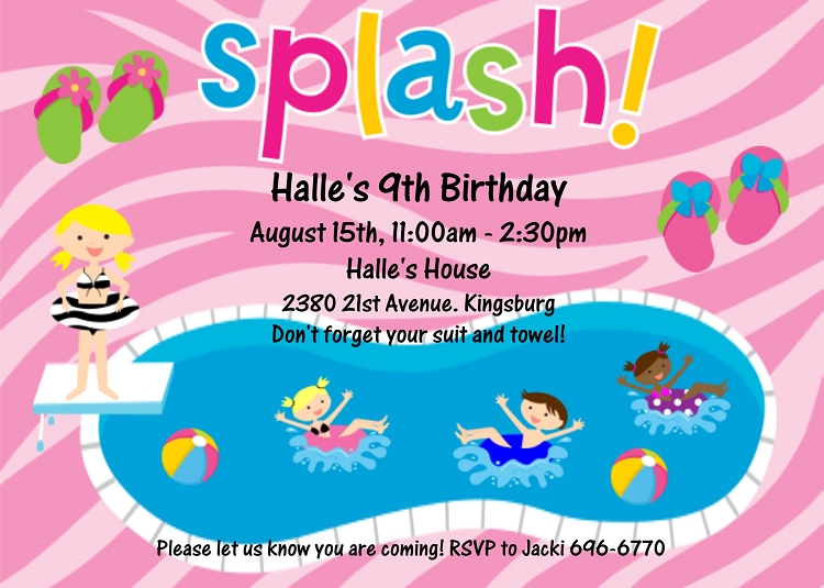 Birthday Invitation Pool Party with nice invitations layout