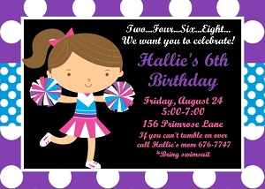 Cheer Birthday Party Invitations Printable by Cutie Patootie Creations